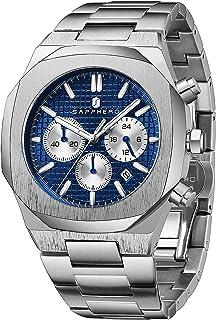Montre Homme SAPPHERO Mouvement à Quartz Montre Homme Acier 3ATM Etanche Chronographe Luxe Mode Meilleur Cadeau Homme Entr...