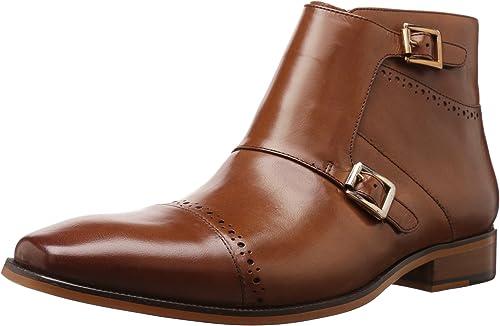 STACY ADAMS Men& 039;s Kason Cap Toe Double Monk Strap Side Zipper Stiefel Chukka, Saddle Tan, 10 M US