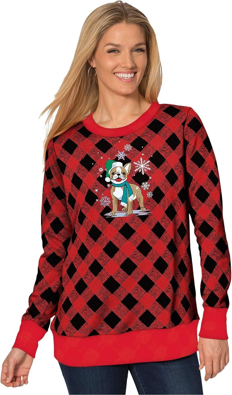 Woman Within Women's Plus Size Fleece Holiday Sweatshirt