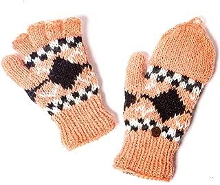 Nude/Black Hand Knit Wool Fleece Lined Hunter Gloves   Tibetan Socks
