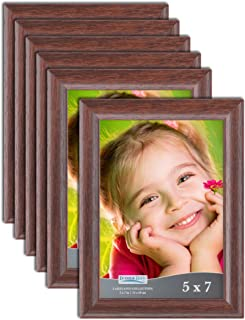 Icona Bay 5x7 Picture Frames 5x7 (6 Pack, Teak Wood Finish), Frames Bulk, Wooden Picture Frames, Photo Frames for Walls or...