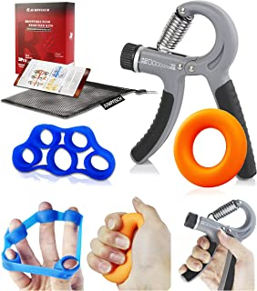 JUMPFISCH Hand Trainer, 3 in 1 Hand Trainer Set with Hand Trainer, Finger Trainer and wirst Ball for Finger and Wrist Rehabilitation, Strengthening and Hand Flexibility Training (10-40KG/22-88LB)