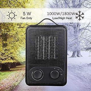 iBazal Calefactor Cerámico 1000w/1800w, Termoventilador Ceràmico con Termostato, Calentador Eléctrico Cerámico con 2 Configuraciones de Calefacción/Ventilador Frío Mini Ventilador Calefactor Cerámica