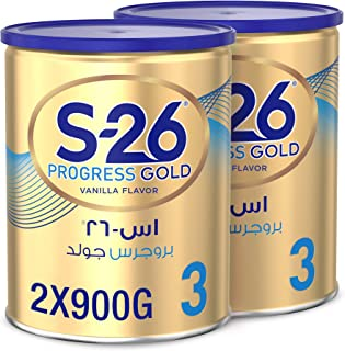 Nestle Wyeth Nutrition S26 Progress Gold Stage 3, 1-3 Years Premium Milk Powder for Toddlers 900g with Nutrilearn System -...