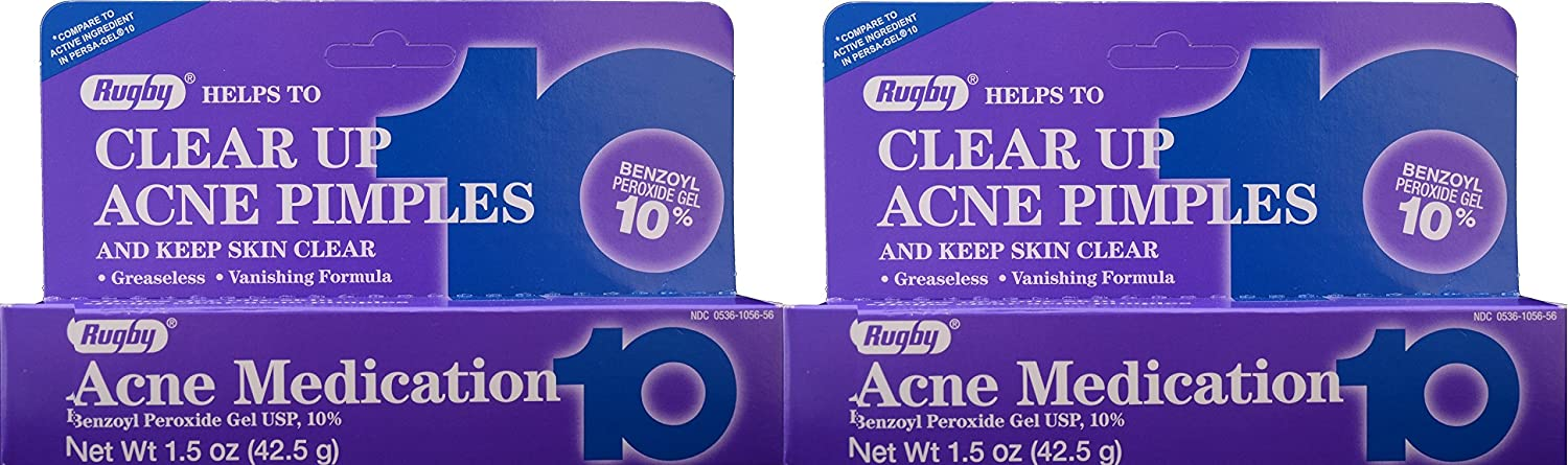 Benzoyl Peroxide 10 % Generic for Persa Gel 10 Maximum Strength Acne Medication Gel for Treatment and Prevention of Acne Pimples, Acne Blemishes, Blackheads or Whiteheads. 1.5 oz. per Tube Pack 2 Total 3 oz.