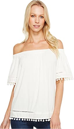 Brigitte Bailey - Britton Off the Shoulder Top with Pom Detail