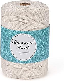 MOSRACY Macrame Corde Coton 3mm*300m,Corde Naturelle Coton Macramé,Ficelle Macramé Beige Pour le Tricot à La Main la Tentu...