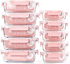 [10 Pack] Glass Meal Prep Containers, Food Storage Containers with Lids Airtight, Glass Lunch Boxes, Microwave, Oven, Free...