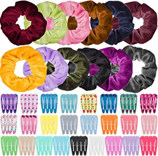 Anezus 100 Pcs Hair Clips Snap Hair Barrettes with 12 Pcs Velvet Scrunchies for Women Girls Hair Accessories