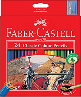Faber-Castell Classic Colour Pencil 24 Pack with Sharpener, (16-115854)