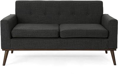 Sophia Mid Century Modern Fabric Sofa, Dark Grey