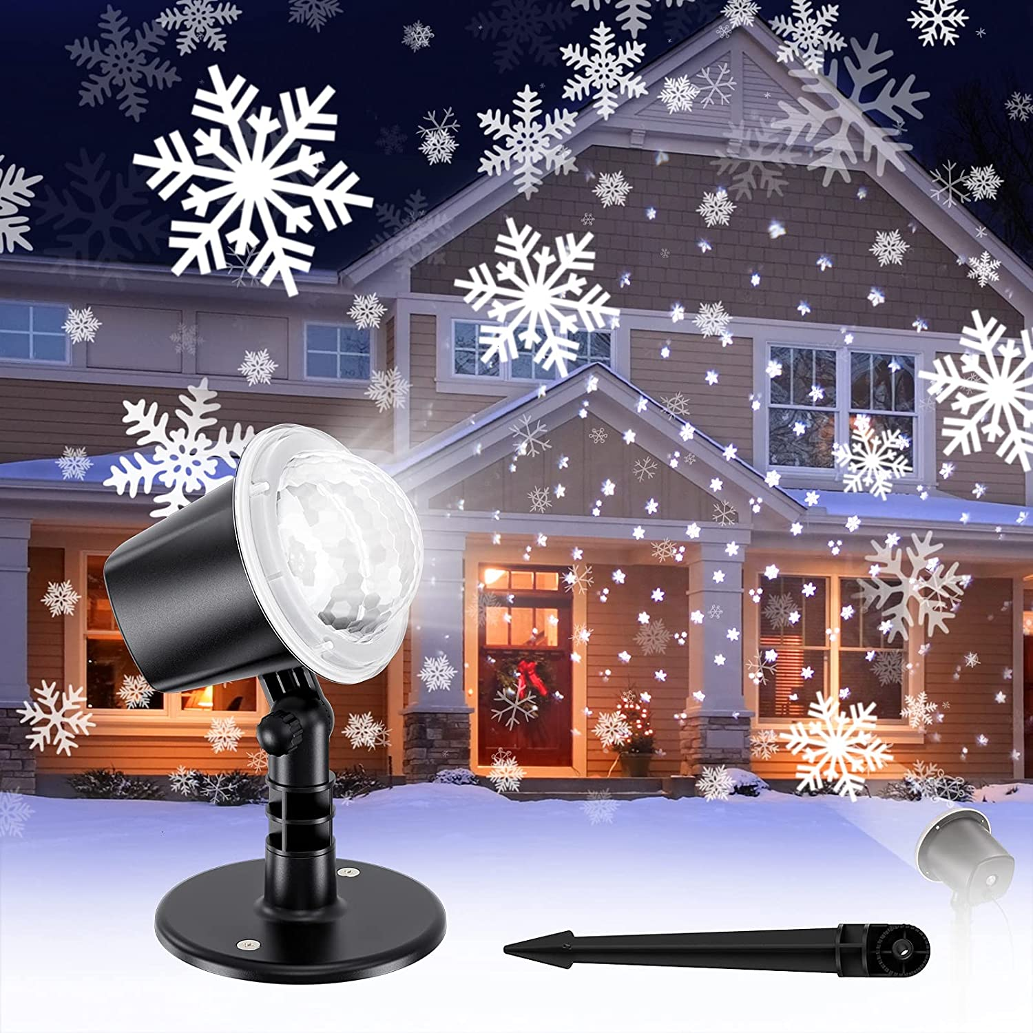 Koicaxy Christmas Snowflake Projector Light, Led Snowfall Show Outdoor Weatherproof Landscape Decorative Lighting for Xmas Holiday Party Wedding Garden Patio