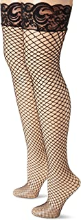 MUSIC LEGS Women's 2 Pack Spandex Diamond Net Thigh Hi with Silicone Lace Top Plus Size