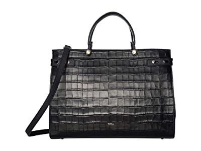 Furla Lady M Large Tote (Onyx) Handbags