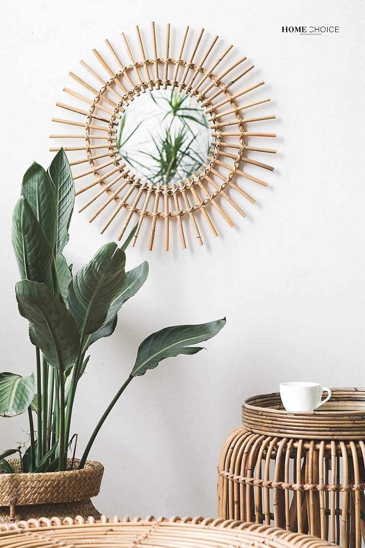 RISEON Boho Mid-Century Vintage Mgoldccan Style Halo Wicker Mirror, Bamboo Rattan Sunburst Mirror, Hanging Wall Mirror, Round Room Entryway Mirror