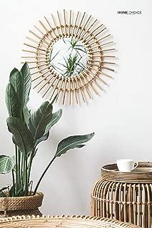 RISEON Boho Mid-Century Vintage Moroccan Style Halo Wicker Mirror, Bamboo Rattan Sunburst Mirror, Hanging Wall Mirror, Round Room Entryway Mirror