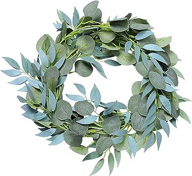 Artificielle Eucalyptus Saule Feuille Guirlande, Plante Artificielle Interieur Exterieur, Fausse Plantes Artificielles pour D