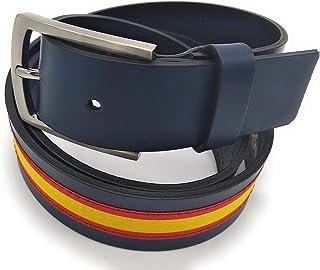 Cinturón azul de piel con bandera de España: Amazon.es: Ropa y accesorios