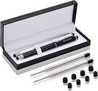 3-in-1 Stylus Pens for Touch Screens,Capactive Stylus for Smartphones,Tablets(5.7 inch Length)-Extra 2 Refills+8 Rubber Tips-Black&Silver