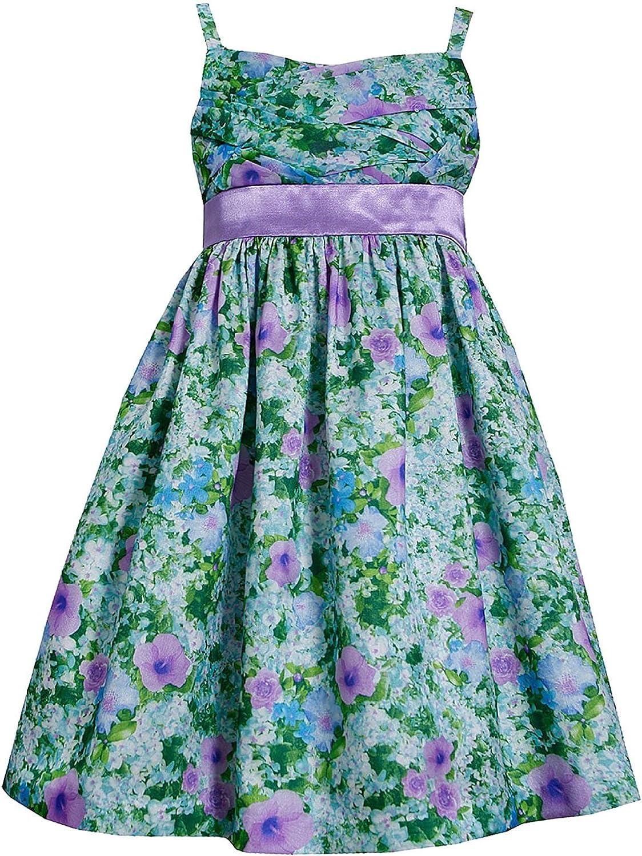 Bonnie Jean Little Girls 2T-6X Lavender/Green Floral Print Chiffon-n-Shantung Social Dress