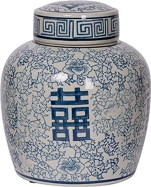 A&B Home Berit Lidded Jar, Blue, White