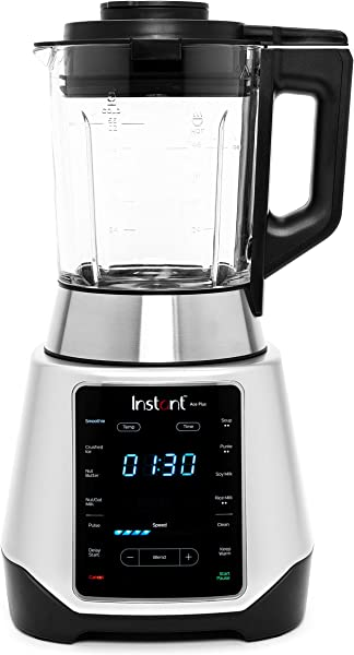 Instant Ace Plus Cooking Beverage Blender Includes Professional Quality Glass Pitcher With Concealed Heating Element 8 Stainless Steel Blades 54 Oz 1300W Silver Black