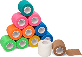 "12-Pack, 2"" x 5 Yards, Self-Adherent Cohesive Tape, Strong Sports Tape for Wrist, Ankle Sprains & Swelling, Self-Adhesive Bandage Rolls, FDA Approved, Assorted Neon Colors, by California Basics"