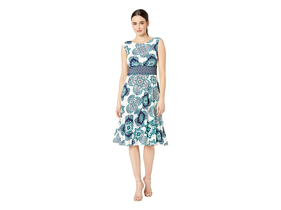 London Times Paisley Tile Inset Waist Fit Flare (Soft White/Teal) Women