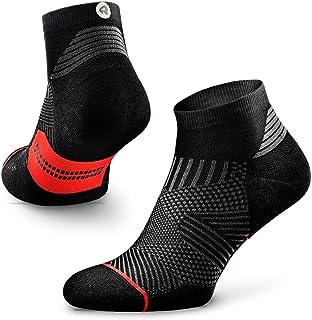 Flare - Calcetines de running para hombre y mujer, talla cuarto, soporte de arco, 100% reciclado, antiolor (1 par), S (US Women 5-6.5 / US Men 3.5-5 ), Negro/Rojo