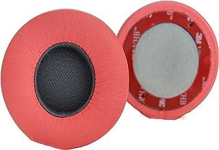 Accessory House Almohadillas de Repuesto de AHG compatibles con los Auriculares inalámbricos Beats Solo 2 y Solo 2 (Siren Rojo). Cuero de proteína | Espuma Suave de Alta Densidad | fácil instalación