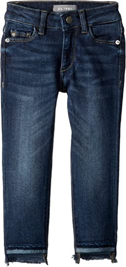 Chloe Dark Wash Skinny with Released Step Hem Adjustable Waist Band and Snap Button in Arcade (Toddler/Little Kids)