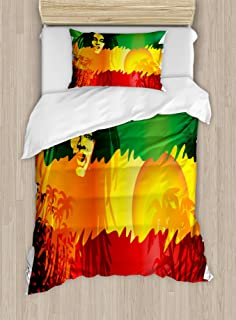 Ambesonne Rasta Duvet Cover Set, Iconic Reggae Music Singer Abstract Design with Sun and Palm Trees, Decorative 2 Piece Bedding Set with 1 Pillow Sham, Twin Size, Orange Yellow