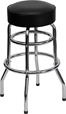 Flash Furniture Double Ring Chrome Barstool with Black Seat
