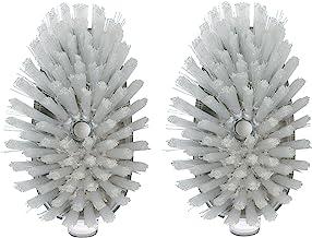 OXO Steel Soap Dispensing Dish Brush, Synthetic, White, 2-Pack