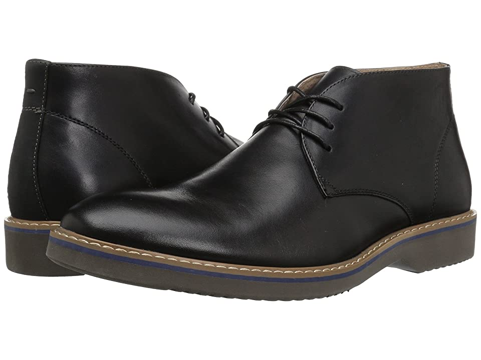 Florsheim Union Plain Toe Chukka Boot (Black Leather/Crazy Horse/Grey Sole) Men