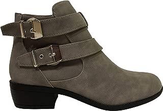 Bella Marie Women's Essie-8 Double Strap Side Zip Stacked Block Heel Boot Ankle Bootie