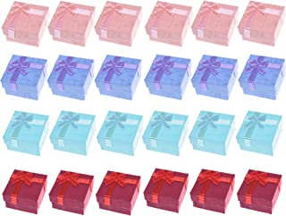 BCP 24pcs Assorted Color Small Hard Gift Box for Ring Earring Jewelry, 1-5/8 x 1-5/8 inches