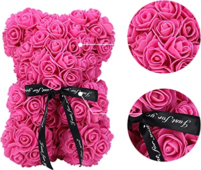 ZFDEBY Rose Flower Bear-Hand Made Teddy Bear,Best Artificial Decoration Gifts for Mothers Day, Valentines Day,Bridal,Weddings,The Perfect Party Clear Gift Box
