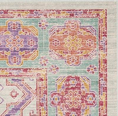 Tapis rectangulaire d'intérieur bohème chic tissé , collection Windsor, WDS315, en spa rose / multi, 91 X 152 cm pour le salon, la chambre ou tout autre espace intérieur par SAFAVIEH.