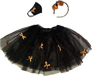 Halloween Bambina - Completo per costume Streghetta composto da gonna tutù, cerchietto per capelli e mascherina protettiva...
