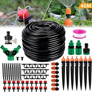 """Philonext Drip Irrigation,130ft/40M Garden Irrigation System, Adjustable Automatic Micro Irrigation Kits,1/4"""" Blank Distribution Tubing Hose Suit for Garden Greenhouse, Flower Bed,Patio,Lawn (40M)"""