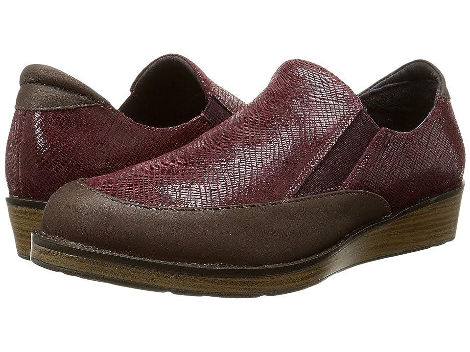 Naot Cherish (Brown Shimmer Nubuck/Reptile Burgundy Leather) Women