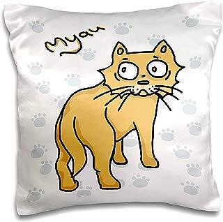 3dRose Warya - Animals. - Ginger Cat Say Meou - 16x16 inch Pillow Case (pc_299938_1)