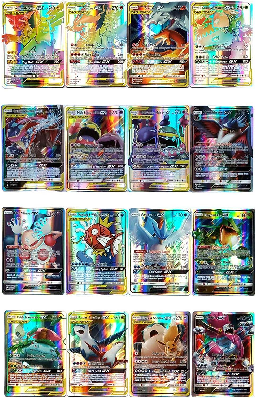 Pokemon Karten GX EX Pokemon Karten 100 St/ück Puzzle Spa/ß Kartenspiel LSST Pokemon Sammelkarten Kindergeschenke Pokemon Flash Karten 40 Tag Team Karte+60 seltene GX-Karten