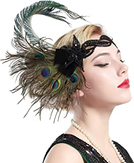 1920s Flapper Peacock Feather Headband 20s Sequined Showgirl Headpiece