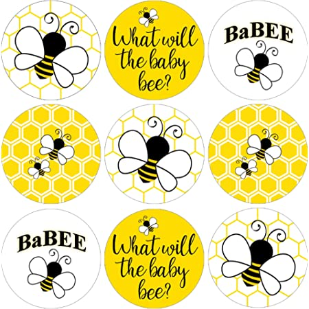 600 Pieces Bee Stickers Honey Bumble Bee Stickers Roll Label Stickers Decals Seals Cards for Kids Birthday Party Baby Shower Classroom Rewards Party Favor 1.2 Inch