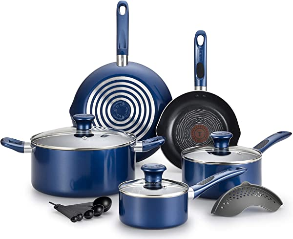 T Fal B037SE64 Excite ProGlide Nonstick Thermo Spot Heat Indicator Dishwasher Oven Safe Cookware Set 14 Piece Blue