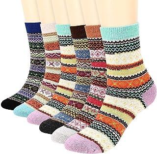 BESLIME, 6 Pares Vintage Calcetines de Lana Lana Calcetines Coloridos Para Mujer Suaves, Gruesos, Transpirables, Calcetines Cálidos de Invierno Para Mujer