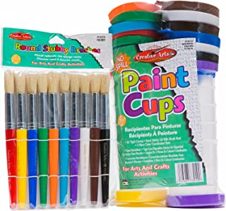 Fityle Spill Proof Paint Cups in 4 Colors for Kids Toddlers Children Early Learning Painting DIY Art Supplies
