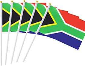 25 Pack Hand Held Small Mini Flag South Africa Flag South African Stick Flag Round Top National Country Flags,Party Decorations Supplies For Parades,World Cup,Festival Events ,International Festival